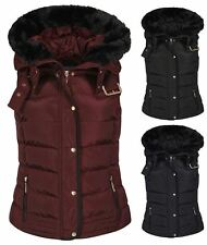 Womens Quilted Winter Faux Hooded Gilet Vest Fur Jacket Puffer Coat UK S-XL