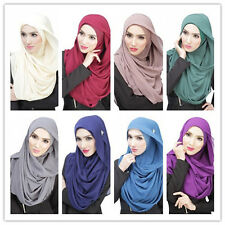 Muslim Ladies Hijab Cap Chiffon Long Scarf Islamic Women's Shawls Wrap Headwear