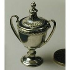 Dollhouse Miniature Polished Pewter Large Trophy w/Removable Top