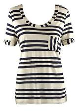 NEW CREW CLOTHING NAVY OATMEAL STRIPE JERSEY TEE TOP T-SHIRT UK SIZE 10 12