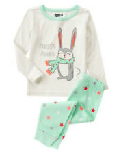 NWT CRAZY 8 Snuggle Glitter Bunny Snug Fit 2PC Pajamas PJ'S