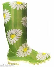 Womans Girls Green with Daisies Festival Wellies Rain Wellys Boots Size 4 5 6 7