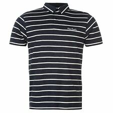 Pierre Cardin Yarn Dye Stripe Polo Shirt Mens Navy/White Top T-Shirt Tee
