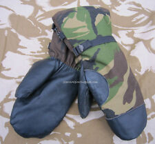 DUTCH ARMY SURPLUS G1 MILITARY COLD WEATHER DPM SKI MITTS,BLACK LEATHER PALMS,NL