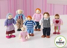 Kidkraft Doll Family Of 7 Caucasian Three Generations Of Adorable Dolls 65202