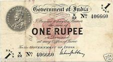 """BRITISH INDIA RE 1 NOTE KING GEORGE V 1917 """"X"""" INSET GUBBAY VF+ STAR+RECTANGLE"""