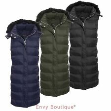 Brave Soul Ladies Womens Quilted Puffer Padded Gilet Fur Hooded Jacket Coat