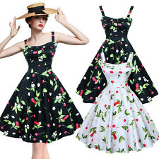 Women Vintage Dress 1950s 60s Rockabilly Retro Pinup Cherry Housewife Dress