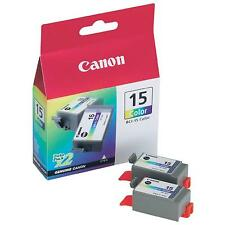 GENUINE OEM CANON BCI-15C COLOUR TWIN PACK OF PRINTER INK CARTRIDGES