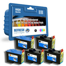 REFRESH CARTRIDGES 7Y743 / 7Y745 - 5 CART PACK INK COMPATIBLE WITH DELL PRINTERS