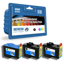 REFRESH CARTRIDGES 7Y743 / 7Y745 - 3 CART PACK INK COMPATIBLE WITH DELL PRINTERS