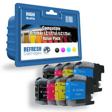 8 X COMPATIBLE BROTHER MFC DCP INK CARTRIDGES LC127XL / LC125XL 2 FULL SETS