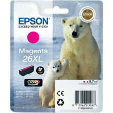 GENUINE EPSON POLAR BEAR MAGENTA HIGH CAPACITY 26XL INK CARTRIDGE C13T26334010