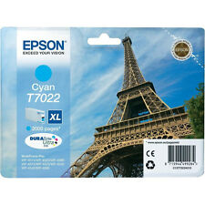 GENUINE EPSON EIFFEL TOWER SERIES CYAN HIGH CAPACITY XL INK CARTRIDGE T7022