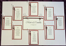 WEDDING STATIONERY 80 GUESTS - TABLE PLAN, TABLE NUMBERS, PLACE CARDS PEARL ROSE