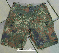 USED GRADE 2 GERMAN ARMY SURPLUS FLECKTARN CAMOUFLAGE COTTON BLEND CARGO SHORTS