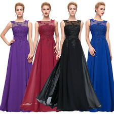 Formal Long Chiffon Ball Gown Evening Prom Party Dress Appliques Flower V-Back