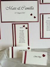 HANDCRAFTED WEDDING TABLE PLAN, TABLE NUMBERS & PLACE CARDS FOR 60 GUESTS HEART