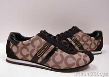New NIB Coach Kathleen Khaki Brown Signature Canvas Suede Patent Leather Sneaker