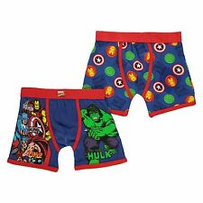 Marvel Comics Boxer Shorts Underwear Childs Boys 2 Pack Blue/Multi Trunks Pants