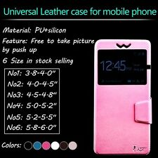 5.5 inch New Slider PU leather universal flip cover for mobile smart phone case