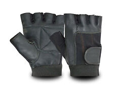 LEATHER GLOVES WEIGHT LIFTING FITNESS GYM CYCLING WHEELCHAIR PADDED RAWHIDE