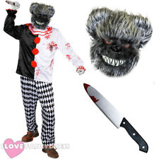 DELUXE KILLER GREY BEAR HORROR CIRCUS FANCY DRESS COSTUME MASK KNIFE CLOWN