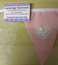 "Wedding Bunting ""English White Lace & Pink Cotton with Lace Hearts & Pearls"""