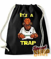 "BORSA ZAINO ""STAR WARS L'AMMIRAGLIO ACKBAR TRAPPOLA FUNNY"" TV SERIE BAG BACKPACK"