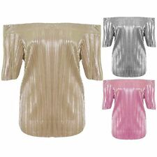 Womens Off Shoulder Short Sleeve Bardot Party Stretch Foil Pleated Metallic Top