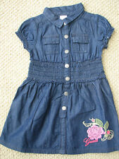 NWT Guess Jeans Denim Jean Dress 4 4T Girl's Embroidery Flowers $43 Free Ship