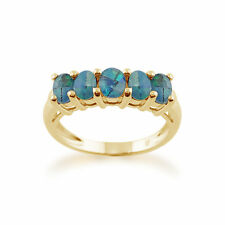 9ct Yellow Gold 0.82ct Triplet Opal Five Stone Ring Size