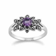 925 Sterling Silver Floral Art Deco Amethyst & Marcasite Ring