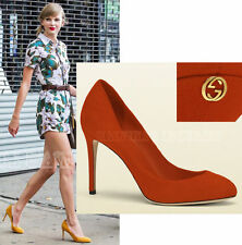 NIB! GUCCI Suede Leather New Rust Pumps Heels Shoes GG Gold $636