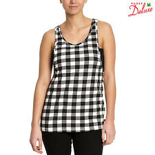 PUSSY DELUXE Pussy Deluxe Plaid Loose Tank black/white  - Girl Top NAPO NEU