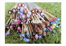*1 PAIR BEADED BAMBOO KNITTING NEEDLES/HOOK SIZE 6mm CHOOSE LENGTH, SIZE, BEAD