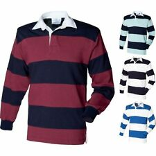 Uomo Front Row Cuciture Manica Lunga A Strisce 100% Cotone Di Rugby