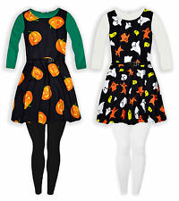 Robe Leggings Costume Halloween Filles Manches longues New Kids Set âge 5-13 ans