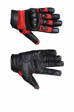 Mens Leather Motorcycle Racing Protective Leather Gloves Driving Motorbike Glove