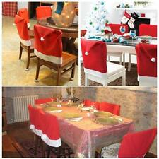4PCs Xmas Santa Claus Red Hat Chair Back Covers Decor Dinner Party Cap Sets LOT