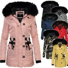 Marikoo Elle Damen Winter Jacke Parka Damen Jacke Winter Stepp Mantel Fellkragen