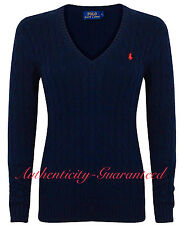 Ralph Lauren Women's Ladies Cable Knit Cotton V/Crew Jumper All Colours RRP £120