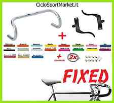 MANUBRIO Scatto Fisso/Fixed/Corsa + Leve FRENO Fixed NERE + GUIANA FILI e FRENI