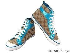 New NIB Coach Britney Khaki Brown Aqua Blue Signature Leather High Top Sneakers