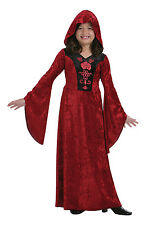 Kids Gothic Vampiress Girls Halloween Party Fancy Dress Childs Costume Outfit