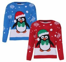 New Mens Womens Cristmas Novelty Penguin With Flashing Light & 3D Nose Jumper