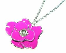 New Large Silver Tone Enamel Crystal Flower Pendant Long Necklace in Gift Box