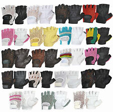 MULTIPURPOSE REAL LEATHER FINGER LESS WEIGHT LIFTING GLOVES VINTAGE STYLE RETRO