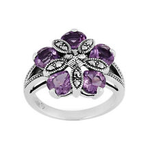 Argento Sterling 1.80ct Ametista & Marcasite Mix Anello