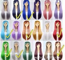 Thick! Wig Long Straight Cosplay Full Hair Wigs Halloween Party Fancy Dress 80cm